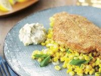 Crispy Summer Flounder Recipe with Scallion-Corn Ragout
