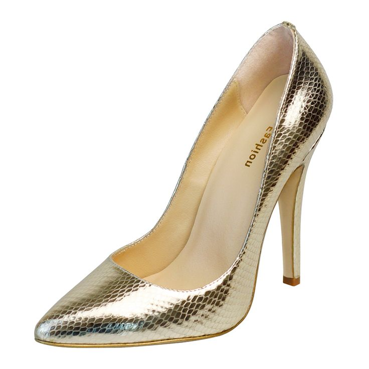 GSNA|Comfortable Snake Print Gold Court Shoes
