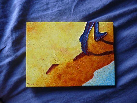 Ce tableau représente une plage sur laquelle des pas séloignent. Cette peinture est parfaite pour évoquer une ballade au bord de la mer. Romantique...  Les contours des formes sont réalisés en relief. Les couleurs sont vives et dynamiques. Dimension : 33 cm x 24 cm, épaisseur 2 cm. Toile coton sur châssis  Au dos, le système dapproche est installé, le tableau est prêt à être suspendu.  Lenvoi est réalisé dans un carton rigide, adapté, pour éviter tout choc. Très soigné.  Tous les tableaux de…