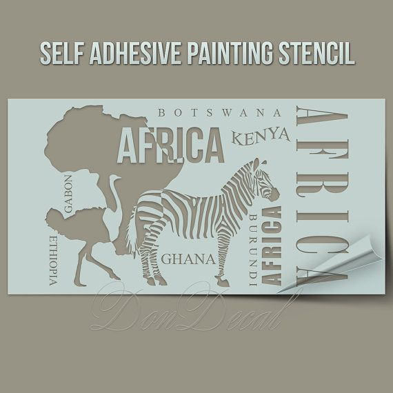 Africa Symbols Zebra Ostrich  - One Time Use Self-Adhesive Wall Painting Stencil, Art Stencil, Airbrush Stencil, Paintining stencil