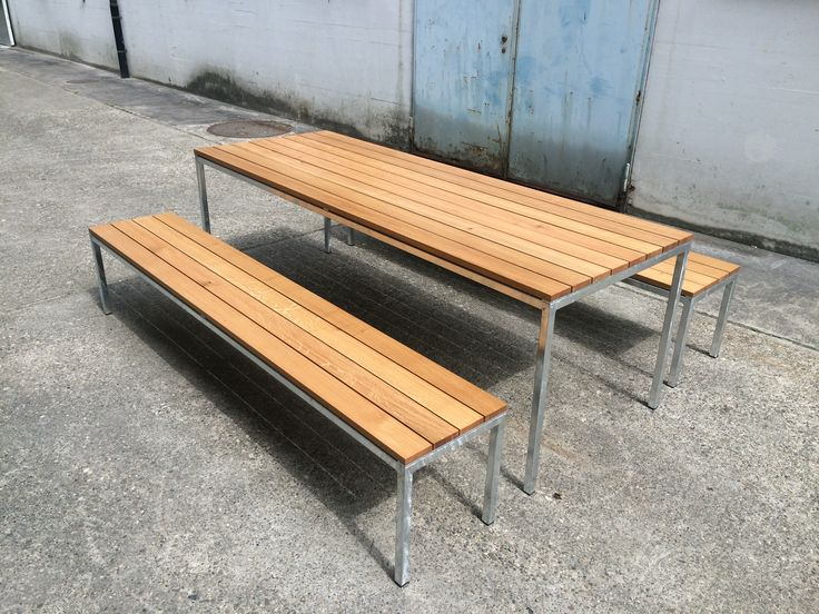 Table and bench. Steel and oak.