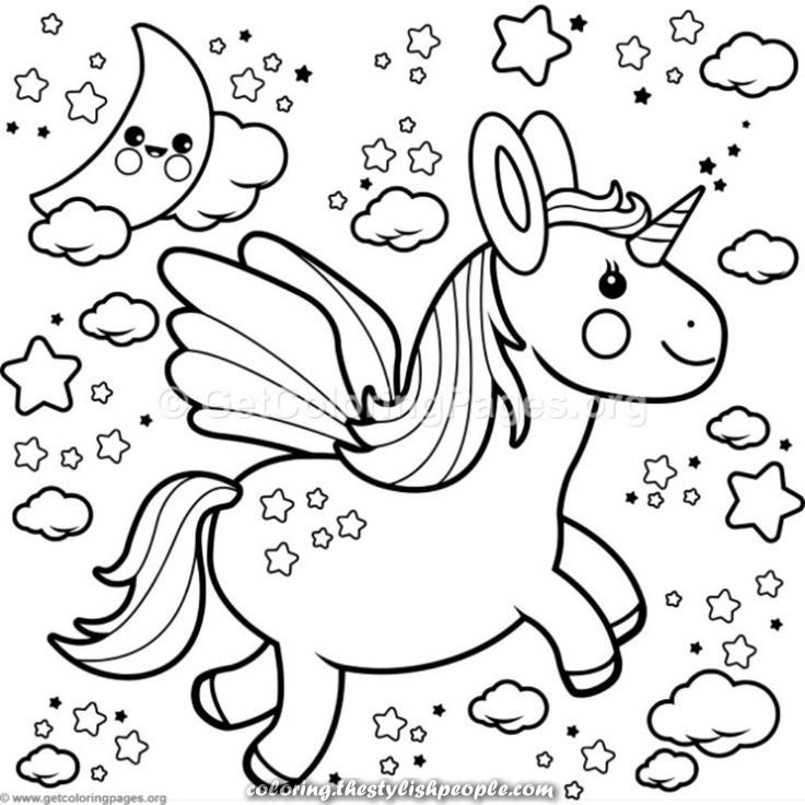 Kawaii Unicorn Coloring Pages To Print Coloring And Drawing