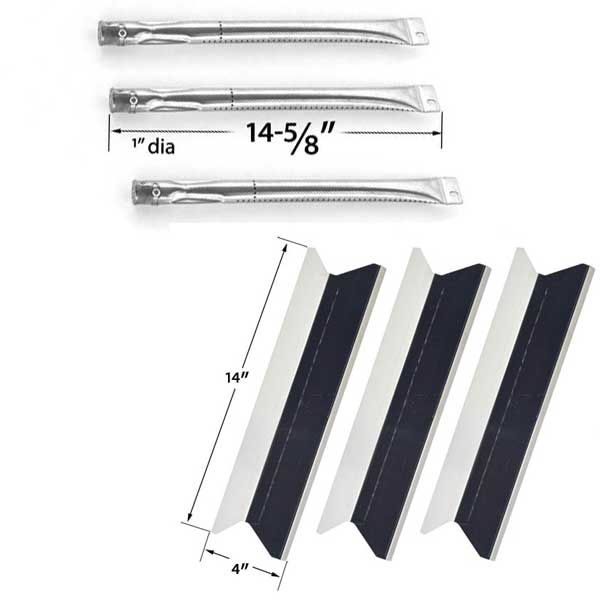 BBQTek SSS3416TB, SSS3416TC, Presidents Choice SSS3416TCS, SSS3416TCSN BBQ Gas Grill Repair Kit Includes 3 Stainless Burners and 3 Stainless Steel Heat Plates