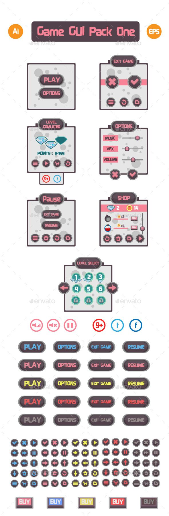 Game Gui Pack Vector EPS, AI Illustrator. Download here: https://graphicriver.net/item/game-gui-pack-one/10681162?ref=ksioks