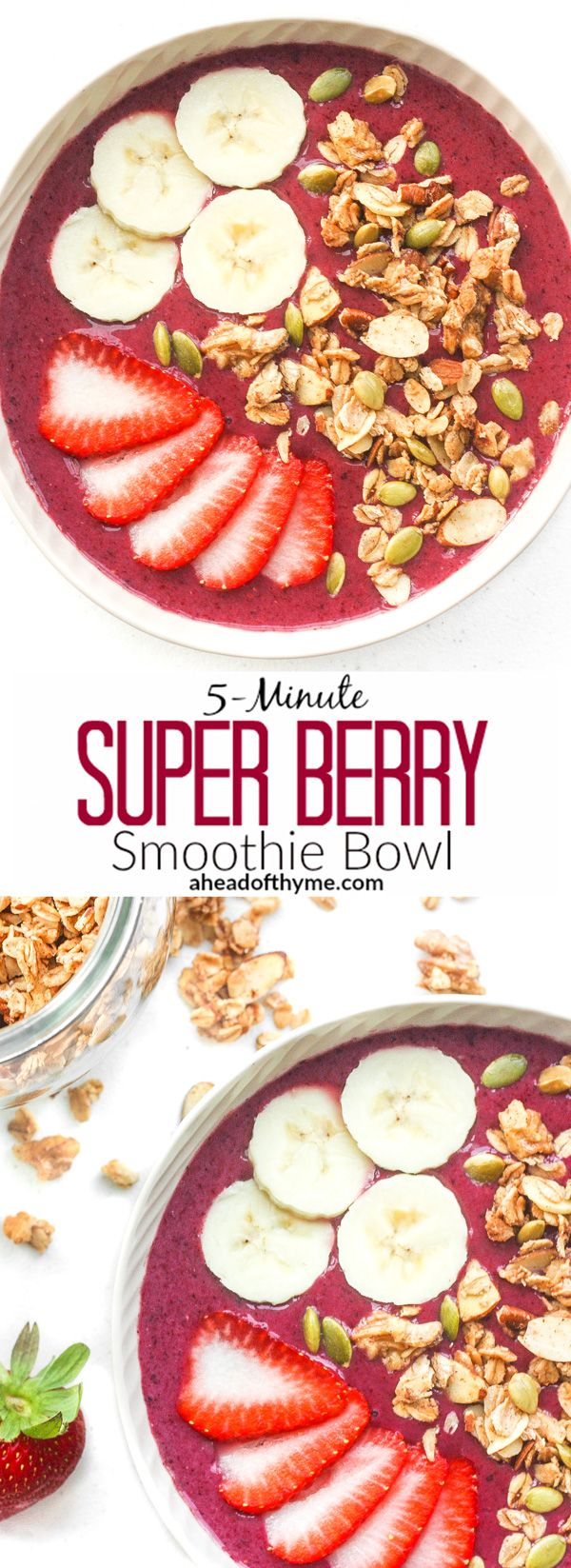 5-Minute Super Berry Smoothie Bowl: Quick and easy, 5-minute super berry smoothie bowl is loaded with strawberries, raspberries, blueberries and banana and topped with customizable toppings. | aheadofthyme.com via @aheadofthyme