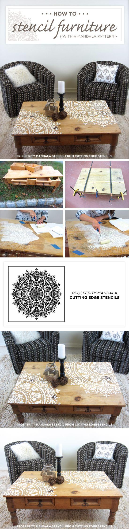 Cutting Edge acciones Plantillas cómo stencil una mesa de madera con el patrón de la prosperidad de la mandala de la plantilla.  http://www.cuttingedgestencils.com/prosperity-mandala-stencil-yoga-mandala-stencils-designs.html