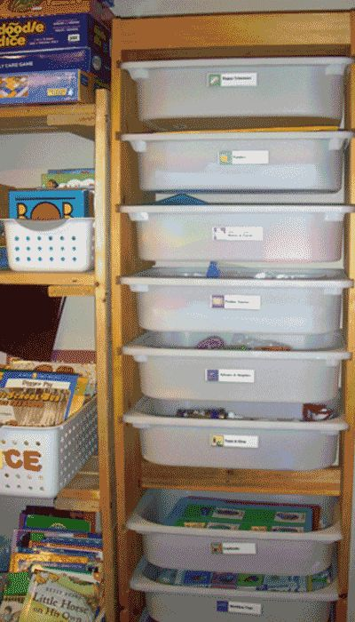 Organizing teaching supplies.  I like the idea of the math blocks esp...need to get some more of these drawers from ikea.