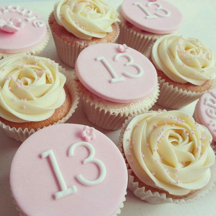 Pink 13th Birthday Girls Cupcakes