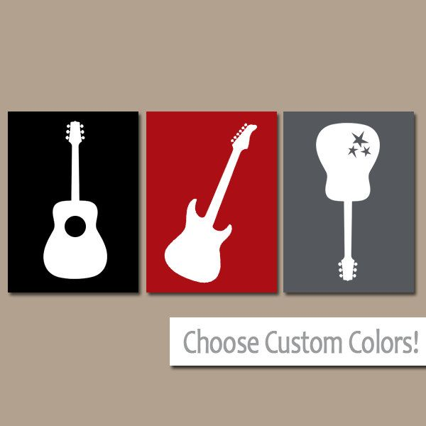 Red Black Gray GUITAR Wall Art, Music Theme Nursery Boy Bedroom Pictures, CANVAS or Prints  Music Art Rock N Roll Rock and Roll Set of 3 by TRMdesign on Etsy https://www.etsy.com/listing/203954953/red-black-gray-guitar-wall-art-music