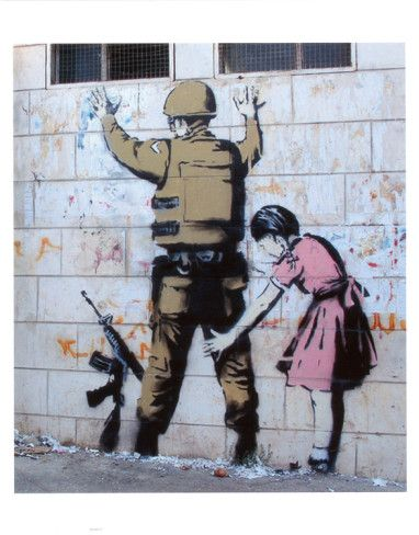 Girl Frisking Soldier by Banksy for Sale - New Zealand Art Prints