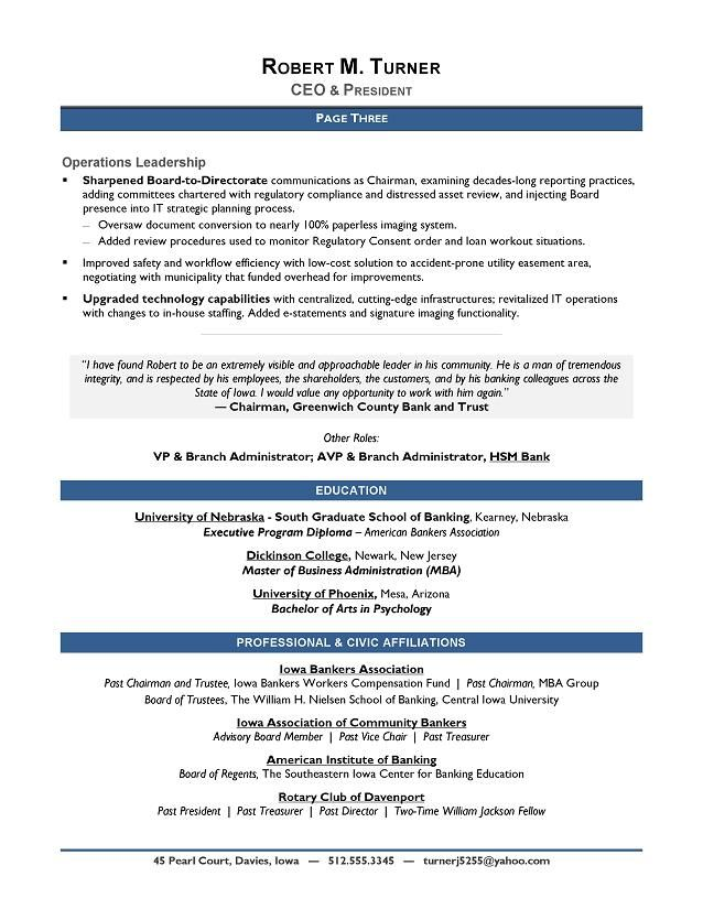 award-winning ceo sample resume
