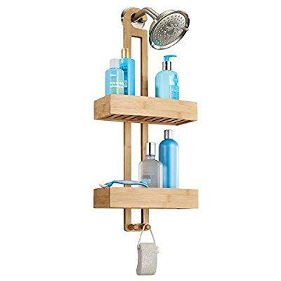 mDesign Estantería para ducha de bambú - Práctico estante de baño para colgar de la ducha con dos cestas y dos ganchos - Almacenaje de baño para champú, gel, esponjas y manoplas - Sin taladro
