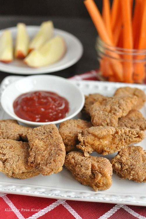 Best Gluten-Free Chicken Nuggets... WITH directions on how to make in advance, freeze, and then reheat! Genius!