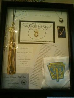 Love this idea. I think I'll make one at the end of the school year after graduation. Maybe use fabric from my uniform skirt in it, my varsity letter, diploma, tassel, cap & some photographs.. Gonna need a pretty big frame.. (: