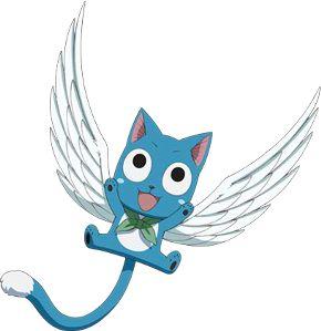 Happy from Fairy Tail ~x~ Een blauwe pratende kat die met behulp van magie voor 5 minuten vleugels kan hebben.