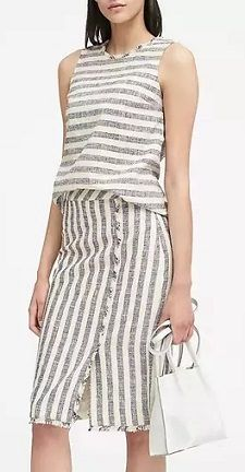 562b5c2da868a Friday s Workwear Report  Fringe-Trim Tweed Shell and Stripe Tweed Pencil  Skirt