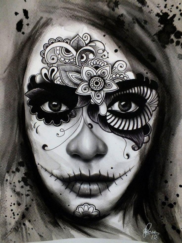 Day of the dead/ El Dia de los Muertos Lady Tattoo by ~gpreece on deviantART