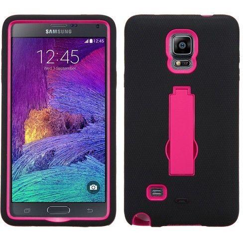 MYBAT Symbiosis Stand Protector Galaxy Note 4 Case - Hot Pink/Black