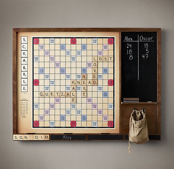 Wall Scrabble based on the 1949 edition complete with large magnetic tiles and chalkboard