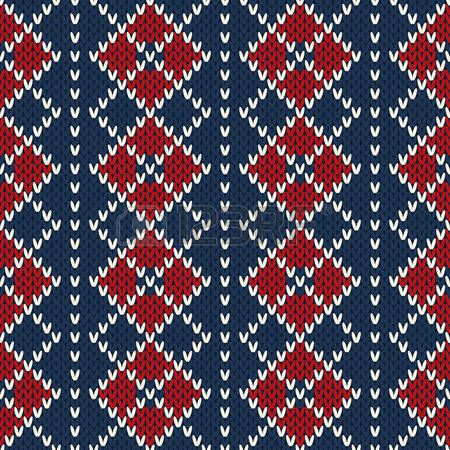 Vintage Style Argyle Winter Holiday Seamless Knitted Pattern photo