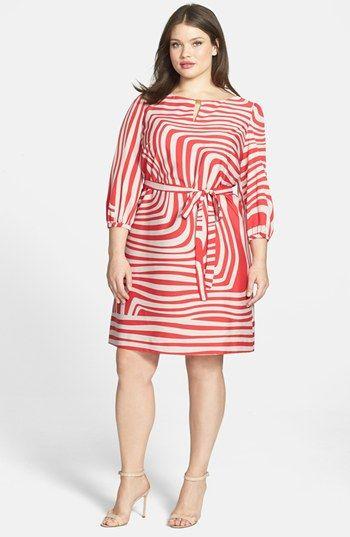 Tahari Swirling Print Jersey Dress (Plus Size) #plussizedresses #plussizefashion #plussizeclothes