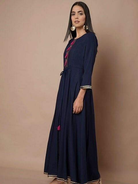 c1191669fbf Navy Gota Placket Slit #Maxi Tunic | Tunic Style Kurti in 2019 ...