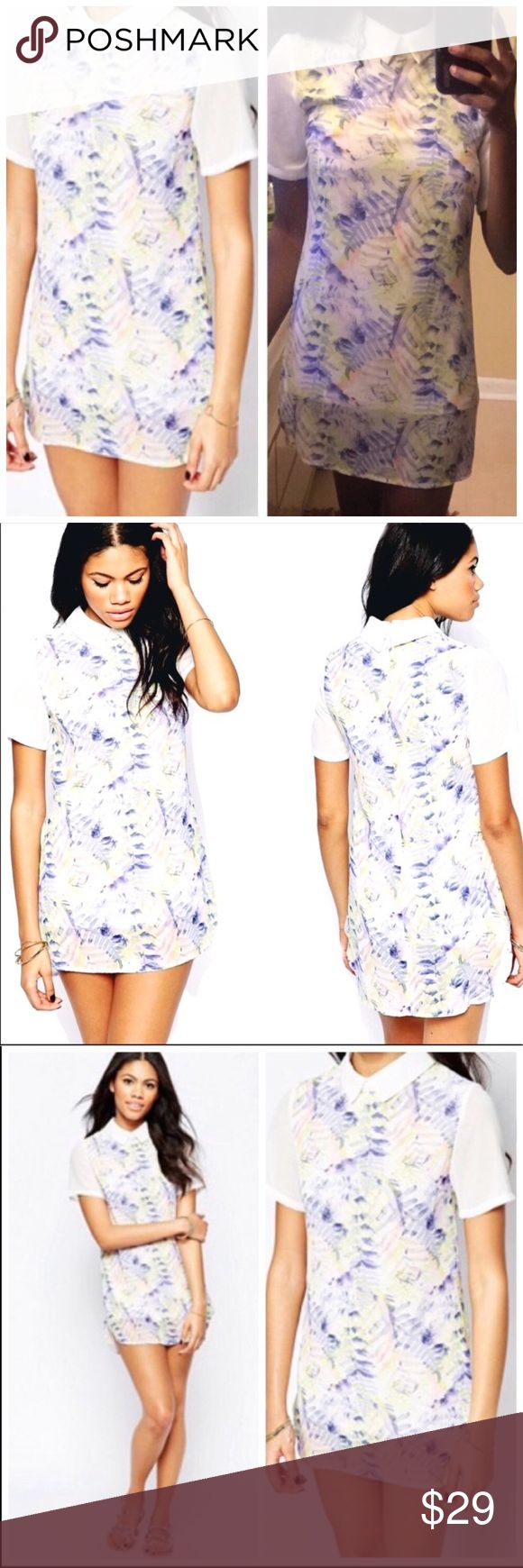 Asos Daisy Street Printed Shirt Dress Daisy street by Asos Shirt dress. Pretty curved hem lined dress with a sheer printed overlay and contrast white color. Very comfortable and super cute with tennis shoes, boots or sandals. Short sleeves with a back zipper closure. Size is Medium- i don't suggest larger than a size 8. Measurements available upon request. White and soft blue colors. ASOS Dresses