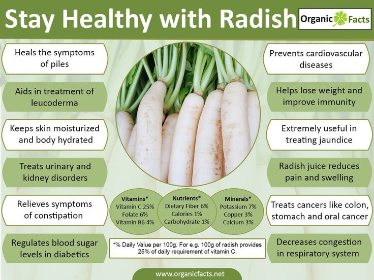 Radish, the well known part of your salad, is a root crop, pungent or sweet in taste with a lot of juice. Radishes can be white, red, purple or black, long cylindrical or round in shape. They are eaten raw, cooked or pickled. The oil obtained from the seeds of radish is also used. The other parts of radish which are consumed are the leaves, the flowers, the pods and the seeds. The scientific name of radish is Raphanus Sativus which belongs to the Brassicaceae family. Radish is also known as…