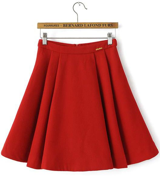 $14, Red Skater Skirt: Woolen Red Pleated Skirt. Sold by Romwe. Click for more info: https://lookastic.com/women/shop_items/250866/redirect