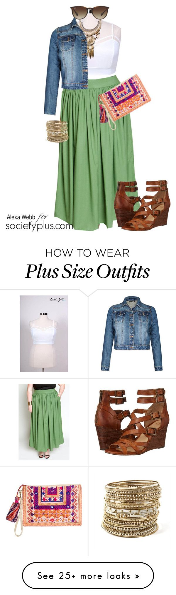 """""""Plus Size Boho Skirt - Alexa Webb for Society+"""" by iamsocietyplus on Polyvore featuring City Chic, Frye, Amrita Singh, Ray-Ban, women's clothing, women, female, woman, misses and juniors"""