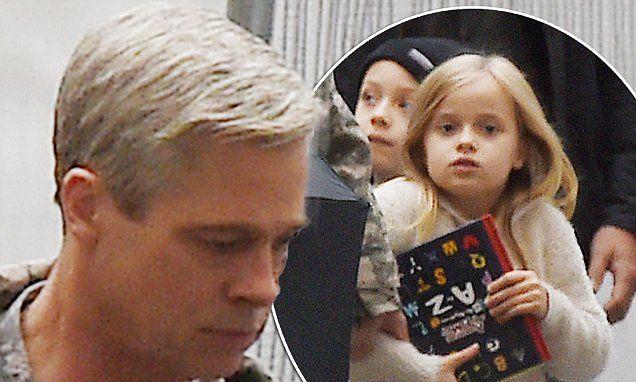 Brad Pitt debuts grey hairdo on set of satirical comedy War Machine