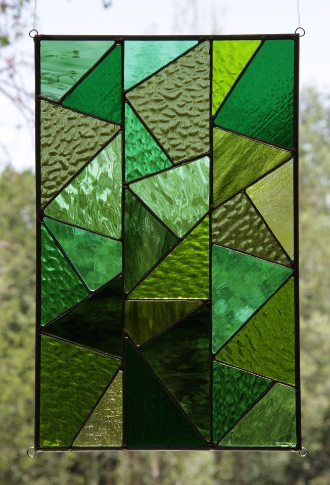 Triangles of Tranquility Stained Glass Window Panel