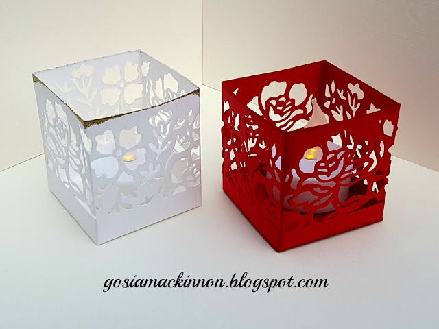 Independent Stampin' Up ! Demonstrator Gosia MacKinnon: TEA LIGHT HOLDER USING DETAILED FLORAL THINLITS BY STAMPIN UP