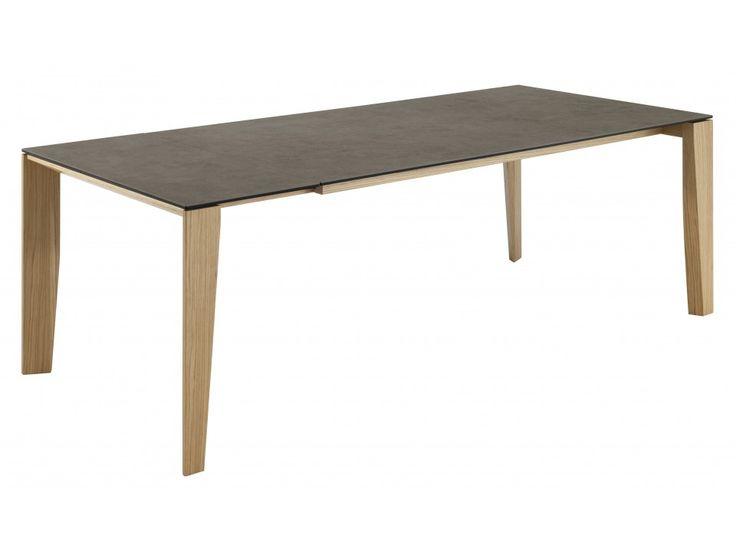 Table design en céramique à rallonge et pieds en bois CLOONEY  ~ Table Bois Ceramique