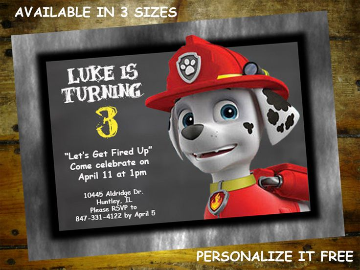 56 best owens 2nd birthday images on pinterest birthdays paw items similar to nick jr paw patrol birthday invitation personalized on etsy filmwisefo Images