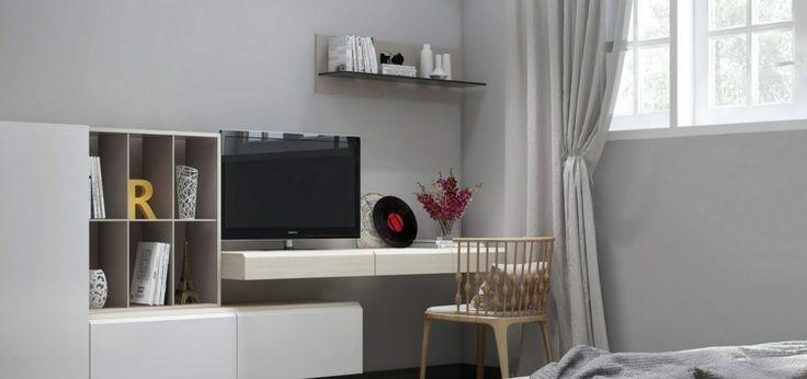 Weiße Schreibtischplatte mit Platz für den Fernseher