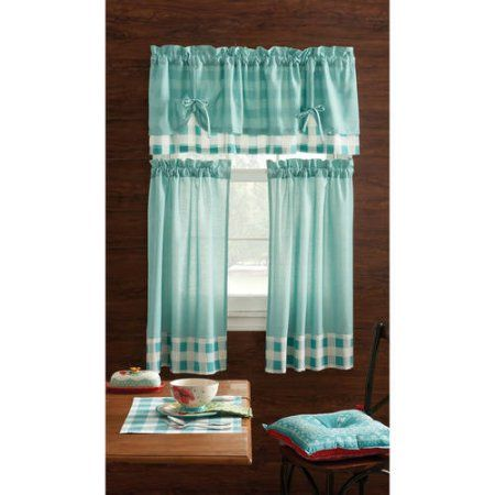 Free 2-day shipping on qualified orders over $35. Buy Pioneer Woman Kitchen Curtain and Valance 3pc Set, Charming Check, Teal at Walmart.com