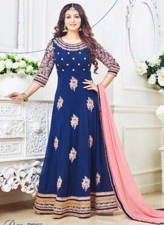 Ayesha Takia Blue Booti Work Georgette Designer Anarkali Suits  http://www.angelnx.com/Salwar-Kameez/Bollywood-Salwar