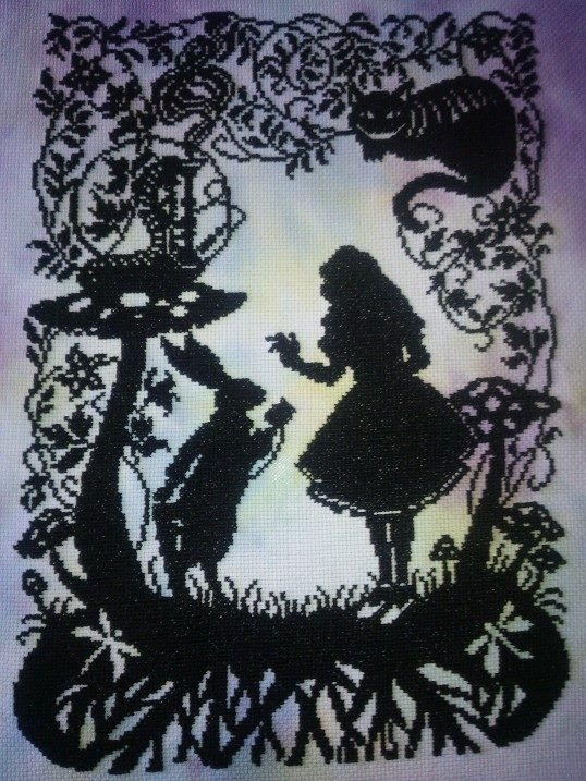 New chart from Bothy Threads - Alice in Wonderland. The dye on this is perfectly shaded for the piece. Some are more patchy and less effective.