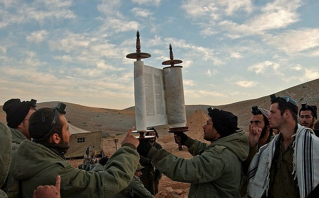 Israeli soldiers with the Torah in the Judean Desert.  Why can't we all just live in peace? Shalom.