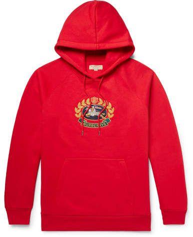 aacdb7cfa7f9 Burberry Logo-Embroidered Fleece-Back Cotton-Blend Jersey Hoodie ...