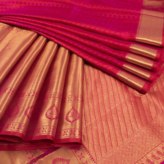 Subhashini Magenta & Red Handwoven Jacquard Kanjivaram Silk Saree 10009154 - AVISHYA