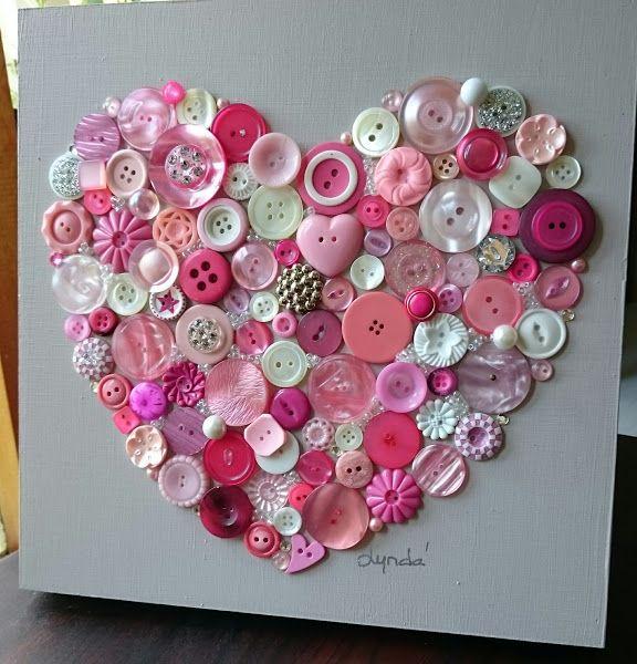 Delicious pink button art heart!