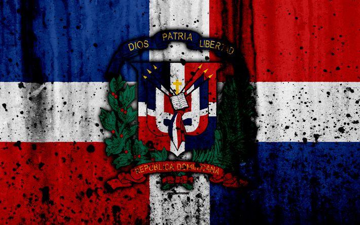 Download wallpapers Dominican Republic flag, 4k, grunge, North America, national symbols, Dominican Republic, coat of arms Dominican Republic, national emblem