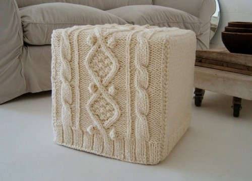 Knitted Ottoman Slipcover by BiscuitScout eclectic ottomans and cubes    IF I DIDN'T HAVE A CAT!