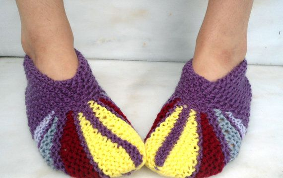 Warm knitted slippers woman house slippers knitted by CRAZYBOOM