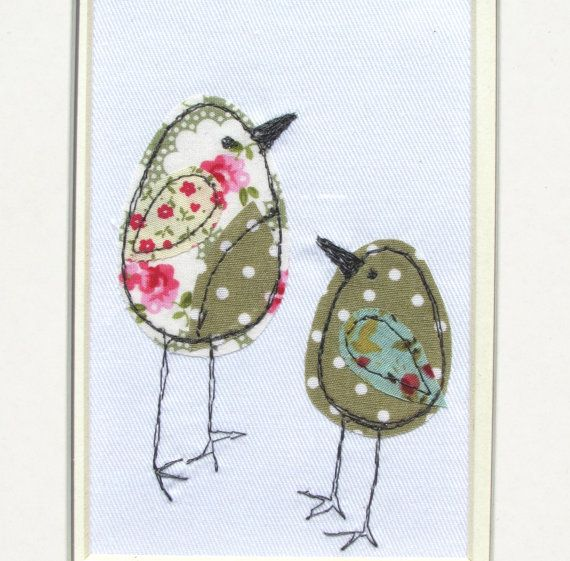 Stitched picture - Embroidered picture - Mixed media picture - Bird picture - Fabric picture