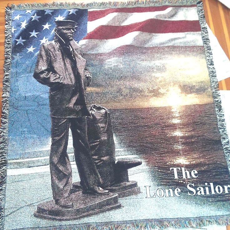 US Navy The Lone Sailor Blanket Tapestry Throw Coverlet Mill St Design 52 x 58 #MillStreetDesigns