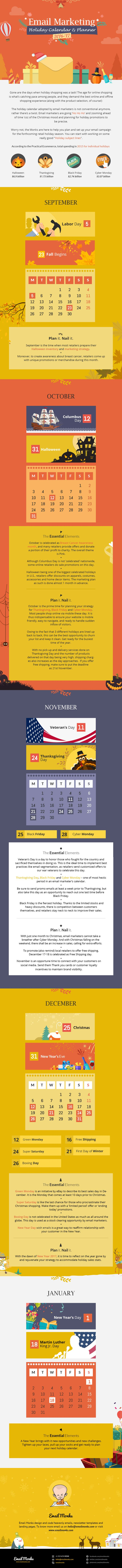 Email Marketing Holiday Calendar and Planner 2016 [Infographic]