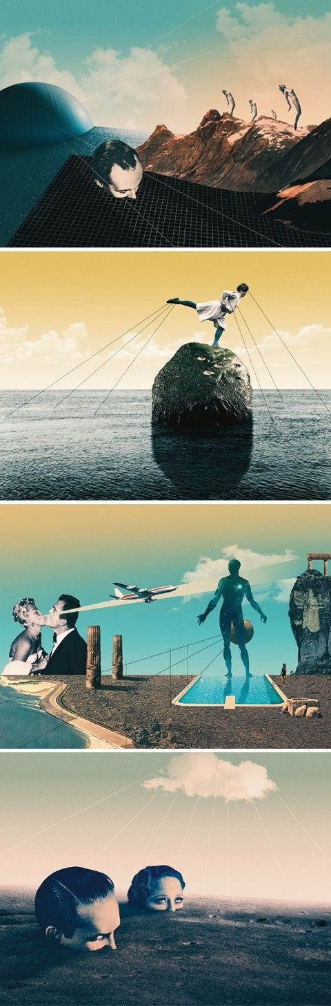 Julien Pacaud / NOWHERE Exhibition / Pa by colagene, illustration clinic , via Behance